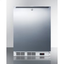 Built-in Undercounter ADA Compliant Frost-free All-freezer for General Purpose Use, With Digital Thermostat, White Cabinet, Stainless Steel Door, Horizontal Handle, and Lock