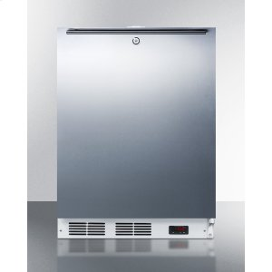 Built-in Undercounter ADA Compliant Frost-free All-freezer for General Purpose Use, With Digital Thermostat, White Cabinet, Stainless Steel Door, Horizontal Handle, and Lock -