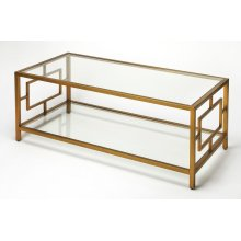 This classic rectangular coffee table will add sophisticatication to any modern living space. Its all metal frame boasts an inviting antique gold finish with a tempered glass top and lower display shelf. Pair it with matching end table style 9216397 to co