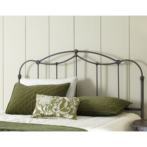 Affinity Metal Headboard Panel with Straight Spindles and Detailed Castings, Blackened Taupe Finish, California King