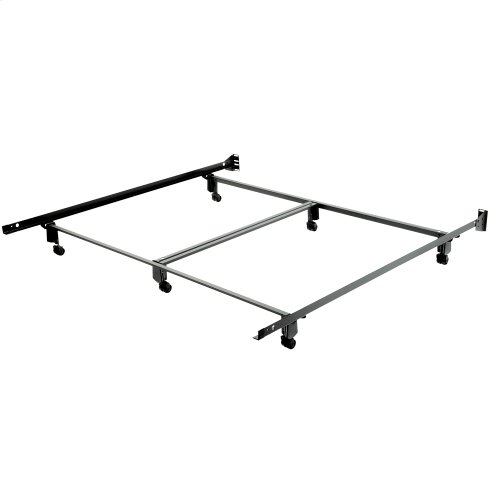 Inst-A-Matic Premium PC774R Bed Frame with Headboard Brackets and (6) 2-Inch Locking Rug Roller Legs, Powder Coat Finish, California King