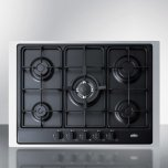 """Summit 5-burner Gas Cooktop Made In Italy In Black Matte Finish With Sealed Burners, Cast Iron Grates, Wok Stand, and Stainless Steel Frame To Allow Installation In 30"""" Wide Counter Openings"""