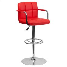 Contemporary Red Quilted Vinyl Adjustable Height Barstool with Arms and Chrome Base