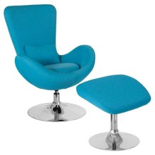 Aqua Fabric Side Reception Chair with Ottoman