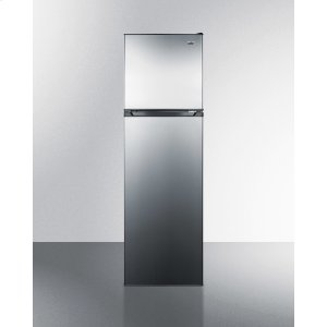 "SummitFrost-free Refrigerator-freezer In Slim 22"" Width, With Factory Installed Icemaker, Reversible Stainless Steel Doors, and Black Cabinet"