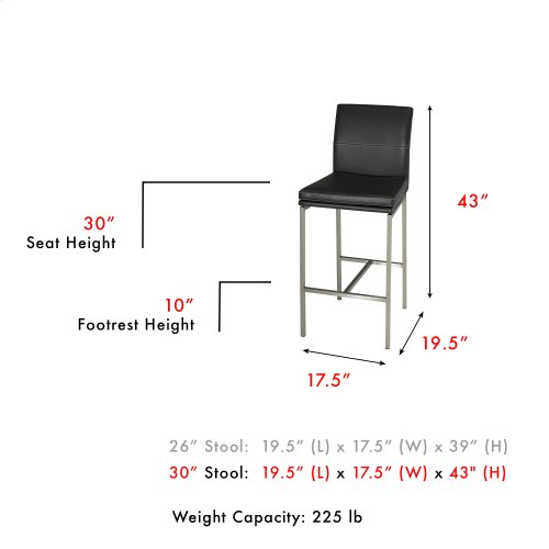 Phoenix Bar Stool with Stainless Steel Finished Metal Frame, Curved Seatback and Obsidian Faux Leather Upholstery, 30-Inch Seat Height