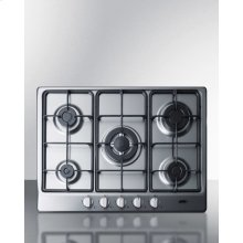 """5-burner Gas Cooktop Made In Italy In A Stainless Steel Finish With Sealed Burners, Cast Iron Grates, and Wok Stand; Fits Standard 24"""" Wide Cutouts"""
