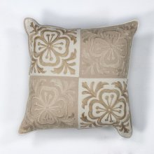 "L131 Beige Damask Pillow 18"" X 18"""