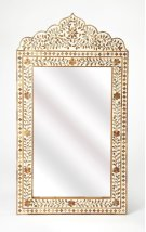 This magnificent wall mirror features sophisticated artistry and consummate craftsmanship. The botanic patterns covering the piece are created from Teak inlays cut and individually applied in a sea of whiteby the hands of a skillful artisan. No two mirror Product Image