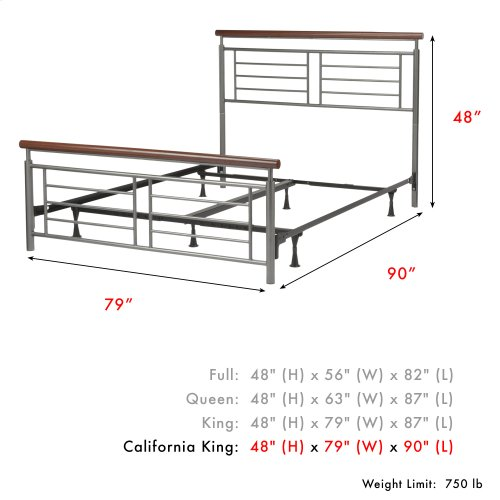 Fontane Complete Metal Bed and Steel Support Frame with Geometric Grills and Rounded Cherry Wood Color Top Rails, Silver Finish, California King