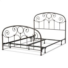 Grafton Complete Metal Bed and Steel Support Frame with Prominent Scrollwork and Decorative Castings, Rusty Gold Finish, Queen