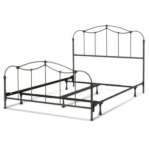 Fashion Bed GroupAffinity Complete Metal Bed and Steel Support Frame with Spindle Panels and Detailed Castings, Blackened Taupe Finish, Queen