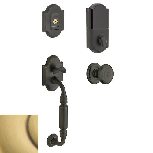 Satin Brass and Brown Evolved Canterbury Knob Sectional Handleset