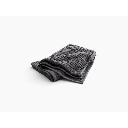 "Thunder Grey Bath Towel With Tatami Weave, 30"" X 58"""
