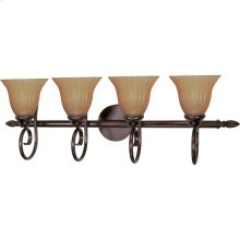 """4-Light 33"""" Copper Bronze Vanity Light Fixture with Champagne Linen Washed Glass"""