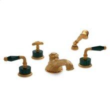 Antique Gold Semiprecious Laurel Lever Deck Mount Tub Set with Classical Hand Shower