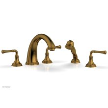 BEADED Deck Tub Set with Hand Shower - Lever Handles 207-48 - French Brass
