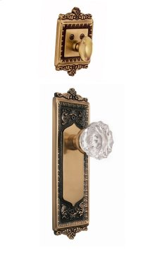Nostalgic - Handleset Interior Half - Egg and Dart Plate with Crystal Knob in Antique Brass