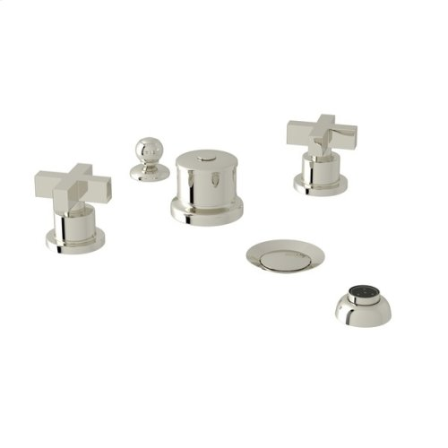 Polished Nickel Pirellone 5-Hole Bidet Faucet with Cross Handle