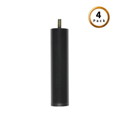"7"" Metric Thread Black Cylinder Legs, 4-Pack"