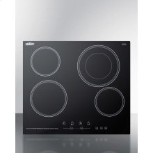 "230v 4-burner Cooktop In Black Ceramic Schott Glass With Digital Touch Controls and an Extra Large 8"" Dual Cooking Element"
