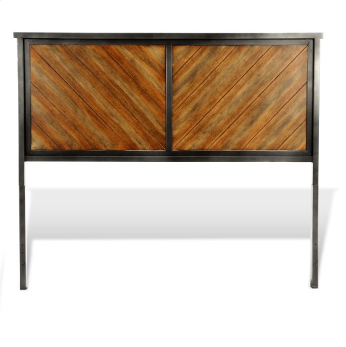 Braden Metal Headboard and Footboard Bed Panels with Rustic Reclaimed Faux Wood in Diagonal Pattern Frame, Rustic Tobacco Finish, California King