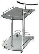 This attractive modern bart cart is a must-have for anyone that enjoys entertaining. It features a chrome plated tubular metal frame, clear tempered glass shelves - each with a chrome plated gallery - and wine bottle storage for up to 3 bottles on the bot Product Image