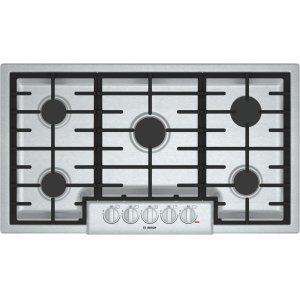 "Bosch800 Series, 36"" Gas Cooktop, 5 Burners, Stainless Steel"