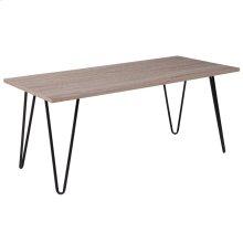Driftwood Wood Grain Finish Coffee Table with Black Metal Legs