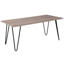 Driftwood Wood Grain Finish Coffee Table with Black Metal Legs