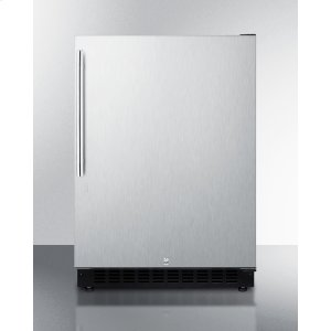 SummitBuilt-in Undercounter ADA Compliant All-refrigerator With Wrapped Stainless Steel Exterior, Thin Vertical Handle, Door Storage, and Digital Controls