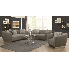 Grayson Contemporary Grey Three-piece Living Room Set