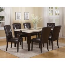 WH/BK FAUX MARBLE DINING TABLE