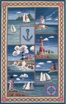 Colonial 1806 Blue Coastal Views 2' X 8' Runner