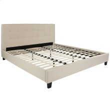 King Size Upholstered Platform Bed in Beige Fabric