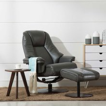 Lund Recliner and Ottoman in Charcoal Breathable Air Leather