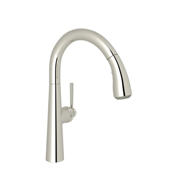 Polished Nickel Lux Pull-Down Bar/Food Prep Faucet with Lux Metal Lever
