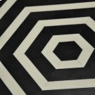 Horizontal Stripe Side Table In Black and Off White Resin Product Image