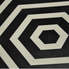 Horizontal Stripe Side Table In Black and Off White Resin