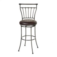 Topeka Metal Barstool with Coffee Upholstered Swivel-Seat and Striated Silver Frame Finish, 30-Inch