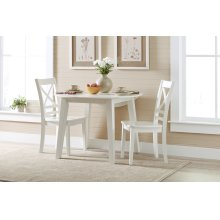 Simplicity Round Drop Leaf Table With 2 X Back Chairs - Paperwhite