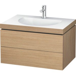 Furniture Washbasin C-bonded With Vanity Wall-mounted, European Oak (decor)