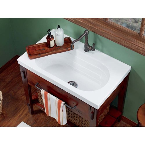 """Ashland™ 25"""" Ceramic Utility Sinktop with Single Faucet Hole in White"""