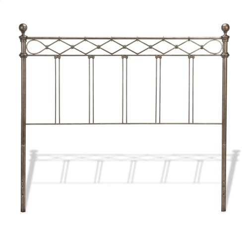 Argyle Metal Headboard Panel with Diamond Pattern Top Rail and Double Spindle Castings, Copper Chrome Finish, Full