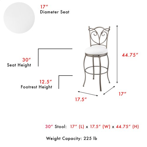Raleigh Swivel Seat Bar Stool with Brushed Bronze Finished Metal Frame, Detailed Seatback and Wheat Upholstery, 30-Inch Seat Height
