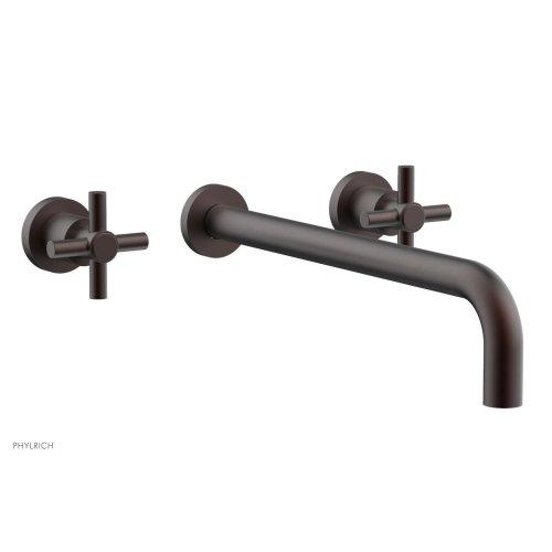 "Basic Wall Tub Set 14"" Spout - Tubular Cross Handles D1134-14 - Weathered Copper"