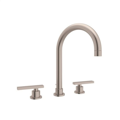 Satin Nickel Pirellone C-Spout Widespread Lavatory Faucet with Metal Lever