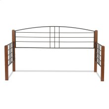 Dayton Metal Daybed Frame with Arched Back Panel and Flat Wood Posts, Black Grain Finish, Twin