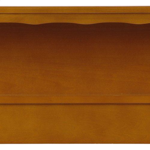 Barrister Wooden Headboard Panel with Flat Top Surface and Bookcase, Bayport Maple Finish, Queen