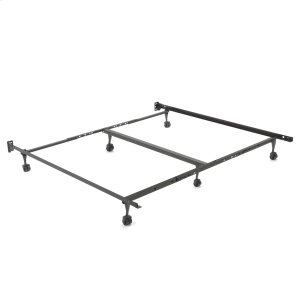 "Leggett And PlattRestmore Adjustable PLK45R/6R Posi-Lock Single Angle Cross Support Bed Frame with Headboard Brackets and (6) 2"" Locking Roller Legs, Queen / Cal King / King"